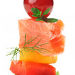 Elegant canape with salmon fish, dill twig and grape — Stock Photo