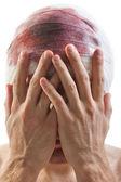повязка на голову кровь ран — Стоковое фото