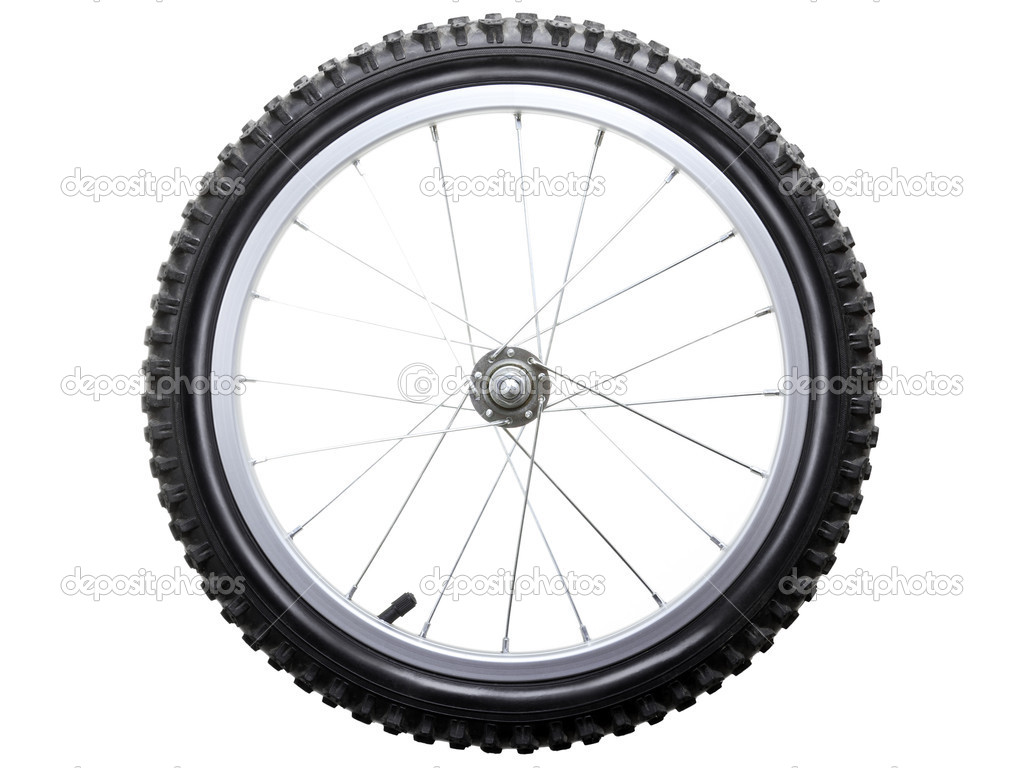 Sport bicycle tire and spoke wheel while isolated — Stock Photo #4125916