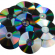 Stock Photo: CD DVD disk heap