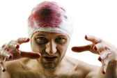 Bandage on blood wound head — Stock Photo