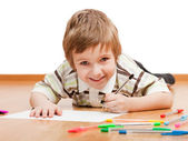 Child drawing or writing — Stock Photo