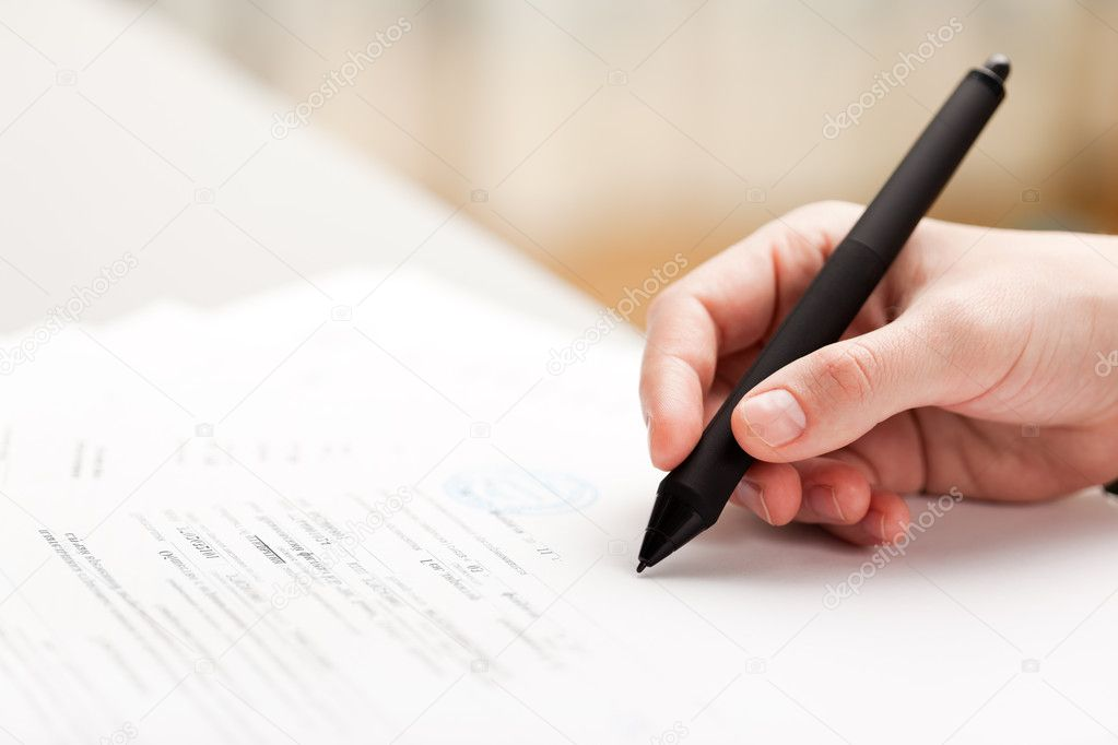 Human business men hand pen writing paper document — Stock Photo #5290068