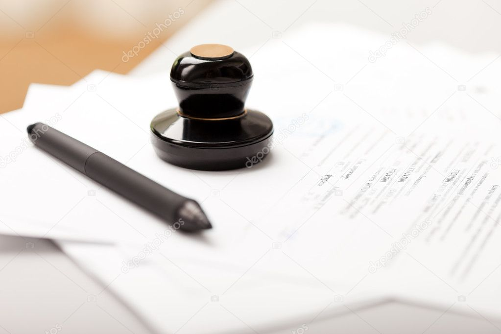 Seal stamp and pen writing business paper document — Foto Stock #5339317