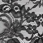 Black fine lace floral texture — Stock Photo