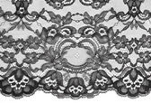 Black fine lace floral texture — Stock Photo