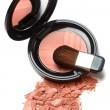 Royalty-Free Stock Photo: Compact powder blush box with mirror and brush isolated on white