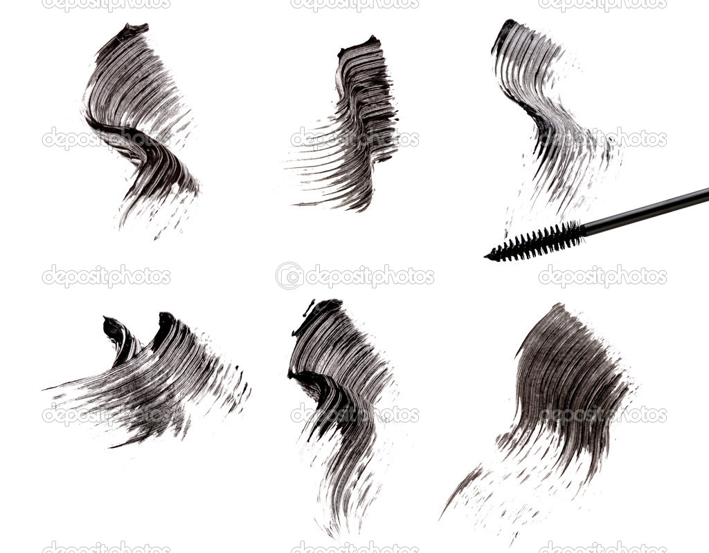 Mascara brush and strokes isolated on white — Stock Photo #4311169