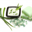 Aloe vera leaves, handmade soap and bath salt isolated on white — Stock Photo #4478029