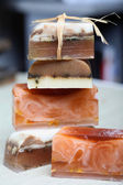 Handmade soap and cinnamon sticks spa composition — Stok fotoğraf