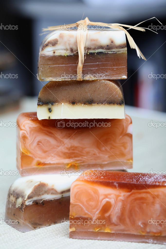Macro handmade soap and cinnamon sticks spa composition — Stock Photo #4477971