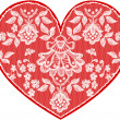 Red fine lace heart with floral pattern. Vector illustration. — Foto de Stock