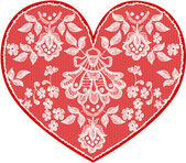 Red fine lace heart with floral pattern. Vector illustration. — Stock fotografie