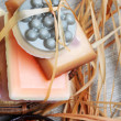Handmade soap bars in the basket. Spa still life — Stock Photo