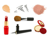 Decorative cosmetic products. Lipstick, concealer, eyeliner, bru — Stock Photo