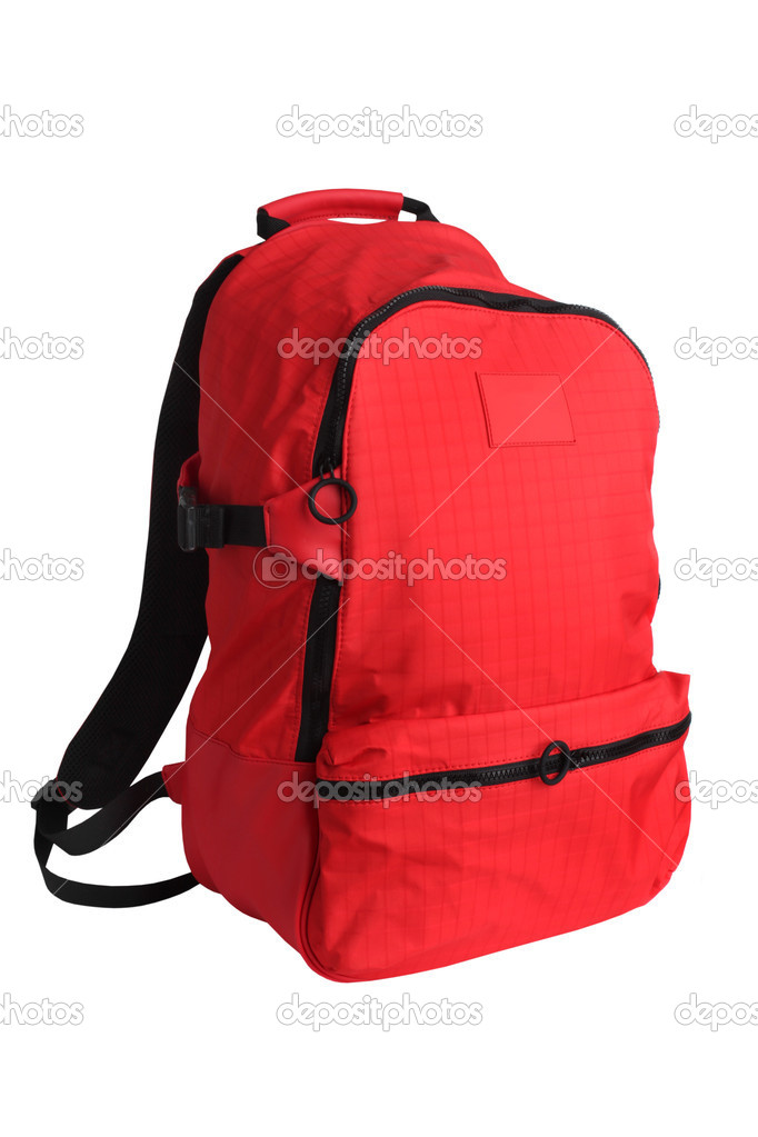 Red school backpack isolated on white — Stock Photo #5138581