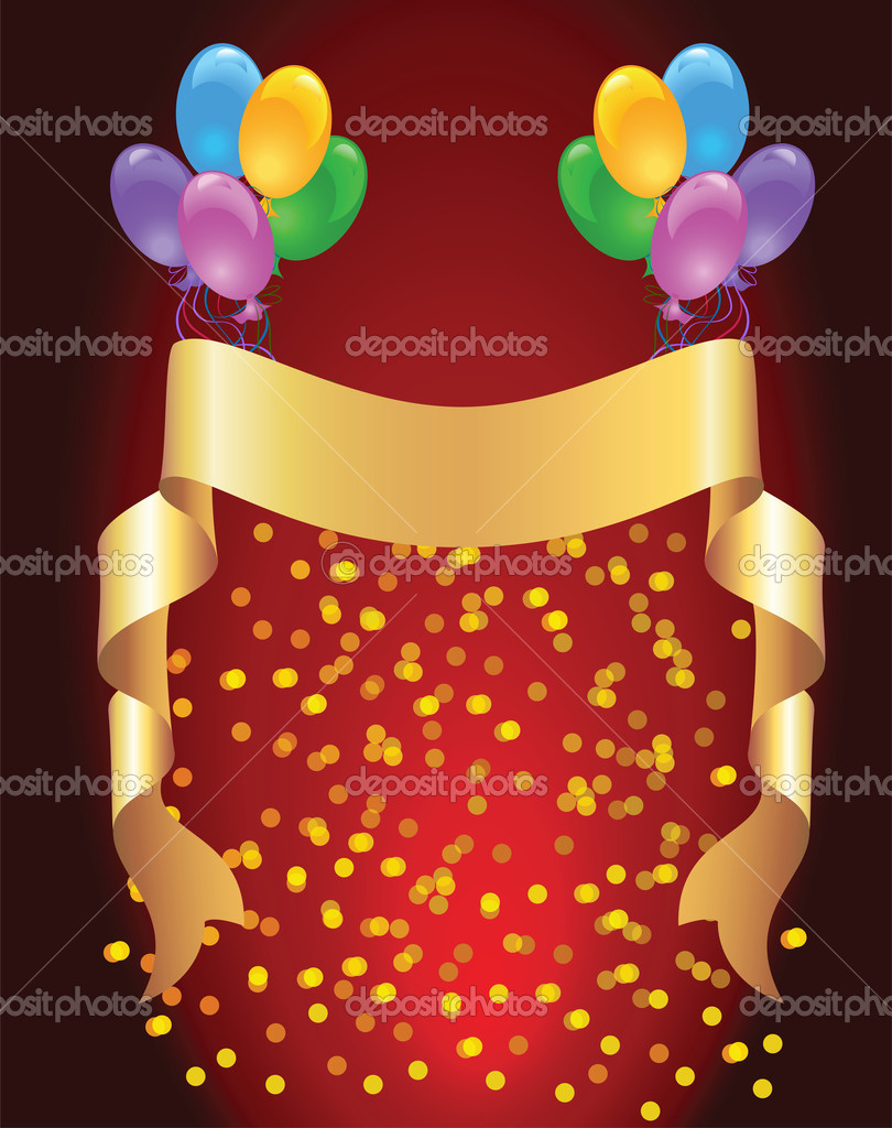 Background with balloons and golden ribbon  Stock Vector #4012315