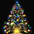 Christmas golden fur-tree — Stockvektor #4155498