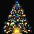 Christmas golden fur-tree — Stock Vector