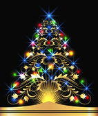 Christmas golden fur-tree — Stockvector