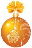 Christmas yellow ball — Stock Vector
