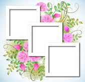 Design photo frames with roses — Stock Vector