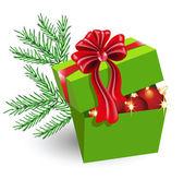 Caja de regalo con decoraciones de la navidad — Vector de stock