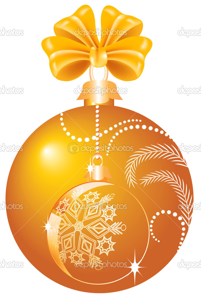 Christmas yellow ball with bow — Stock Vector #4188558