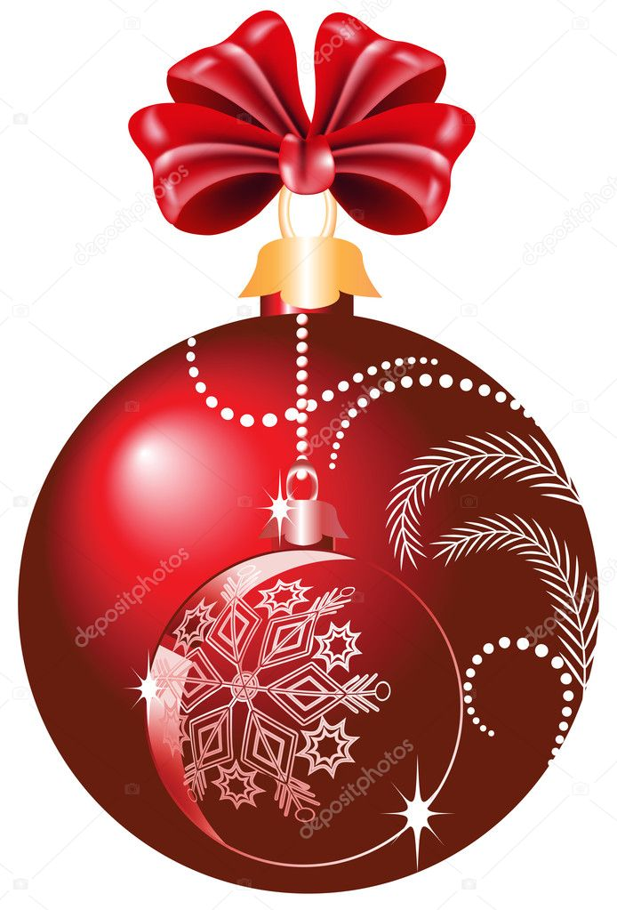 Christmas red ball with bow — Stock Vector #4188559