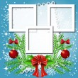 Christmas background with frame for photos or text box — Stock Vector