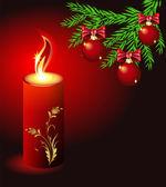 Tarjeta de navidad con una vela ardiente — Vector de stock