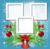 Christmas background with frame for photos or text box — 图库矢量图片