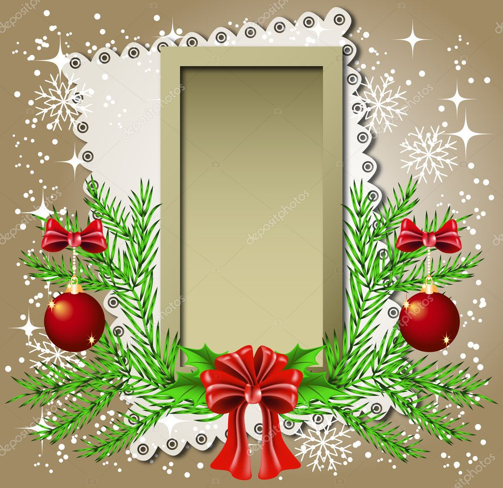 Christmas background with frame for photos or text box  Stock Vector #4427373