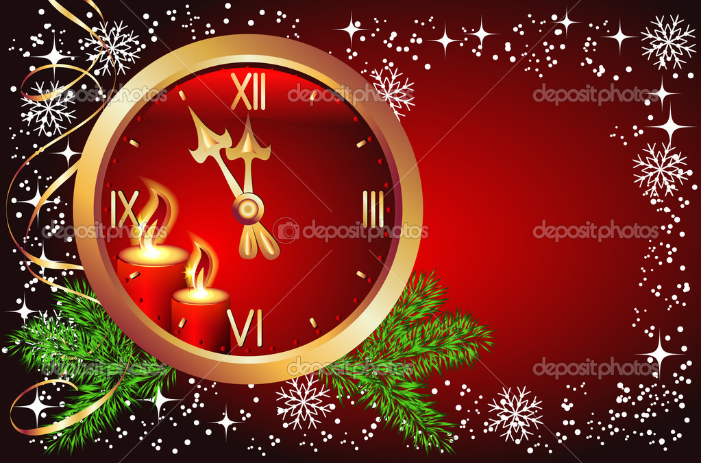 Red Christmas background with chimes  Stockvectorbeeld #4427416