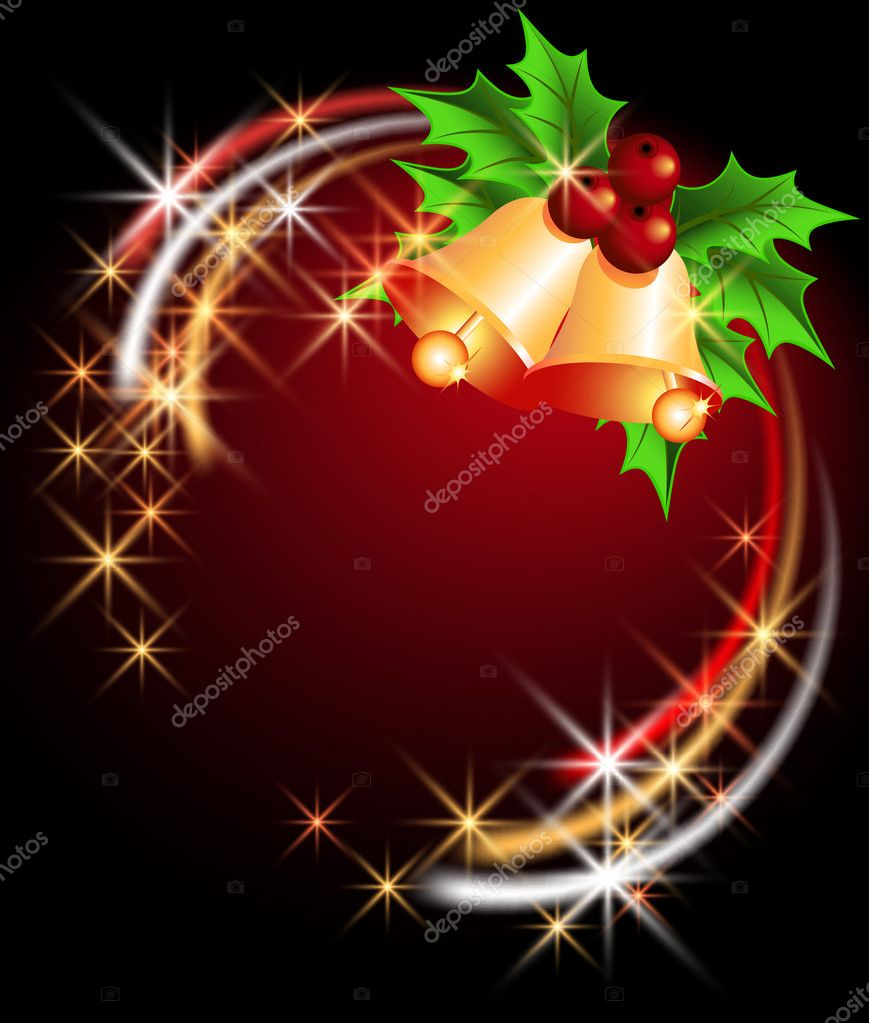 Christmas background with bells and stars — Stock Vector #4427429