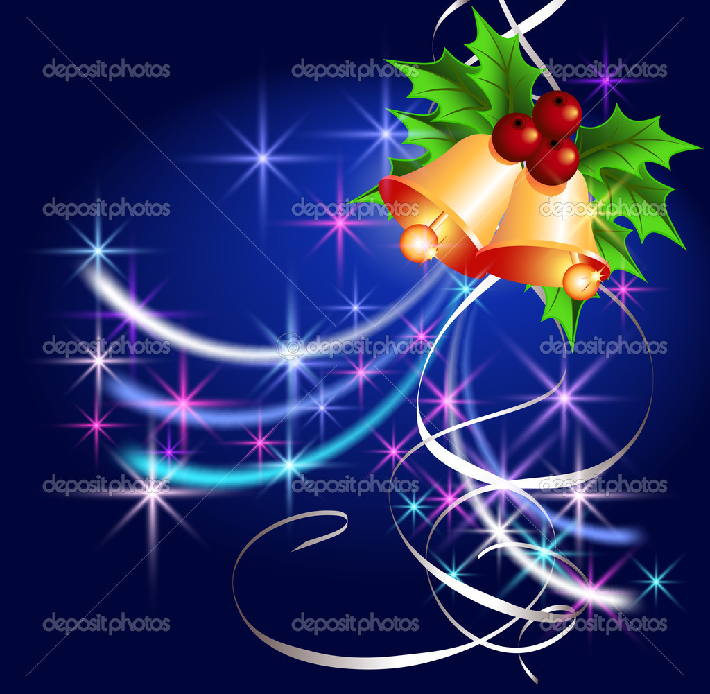 Christmas background with bells, serpentine and stars  Stock Vector #4427441
