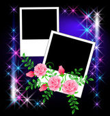 Page layout photo album with roses — Stock Vector