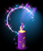 Burning candle with an ornament — Stock Vector