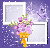 Background for text or photo with flowers and bow — Stock Vector