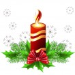 Christmas burning candle — Stock Vector #4517962
