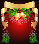 Christmas background with golden ribbon — Stock Vector