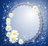Floral fond d'étoiles et un endroit pour du texte ou photo — Vecteur
