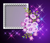 Page layout photo album with flowers — Stock Vector