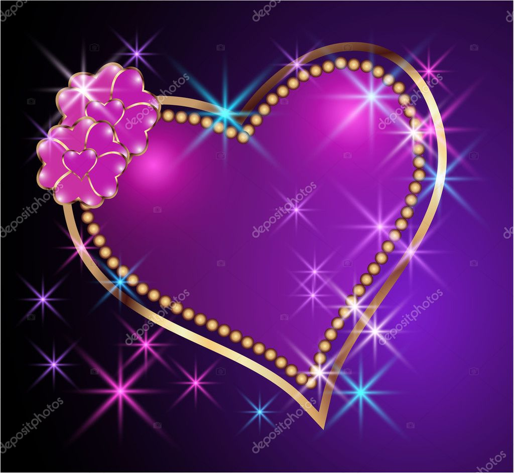 Glowing background with heart and stars — Stock Vector ...