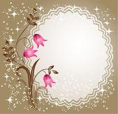Serviette mit spitzen Ecken mit Blumen — Stockvektor