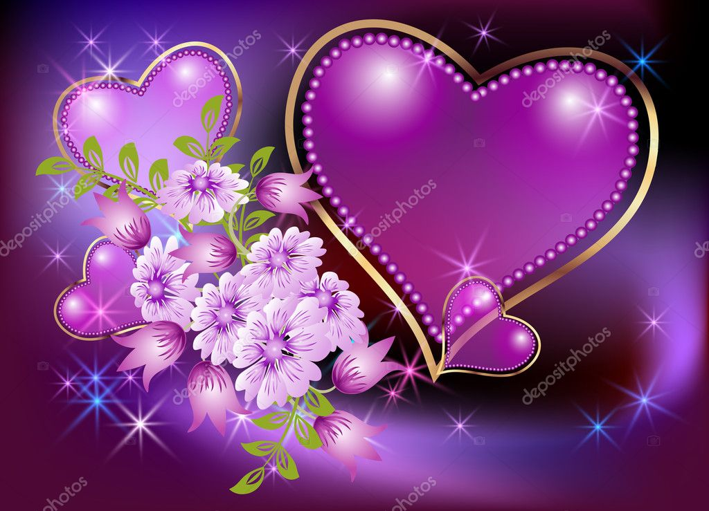 Glowing background with hearts and stars — Stock Vector ...
