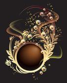 Goldenes ornament, blasen und rauch — Stockvektor