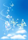 Butterflies in the sky — Stock Vector