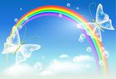 Arco iris y mariposa — Vector de stock
