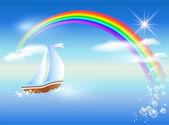 Sailboat and rainbow — Stock Vector
